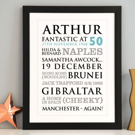 Personalised 50th Birthday Typographic Art Print